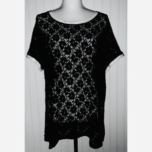 Torrid Sz 1 Top Black Lace Ringer Tee 1x 14 16
